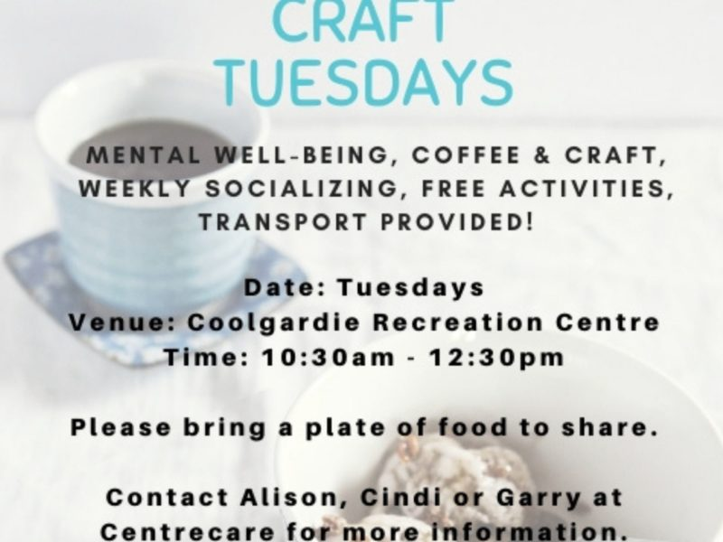 Centrecare Social Craft Tuesdays Coolgardie Kamblada