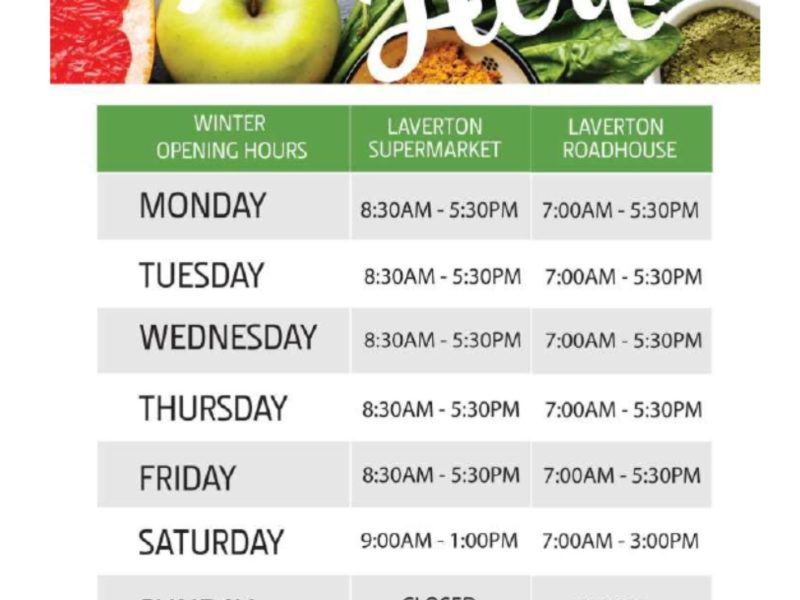 Laverton Supplies Winter Opening Hours